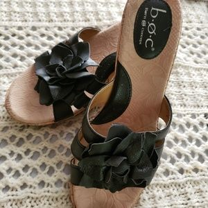 💞B.O.C BORN WEDGE BLACK LEATHER SANDALS
